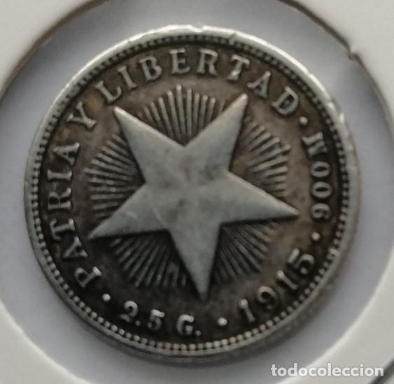 MONEDA DE PLATA CUBA 1915 (Numismática - Extranjeras - América)