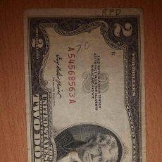 Monedas antiguas de América: BILLETE DE ESTADOS UNIDOS 2 DOLARES AÑO 1953 CIRCULADO. Lote 193435782