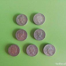 Monedas antiguas de América: LOTE DE 7 MONEDAS ONE POUND 7 LIBRAS INGLATERRA. Lote 193945876