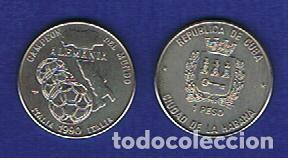 CUBA : 1 PESO 1990.( MUNDIAL DE FUTBOL ITALIA 1990 ) S/C.UNC. KM.289 (Numismática - Extranjeras - América)