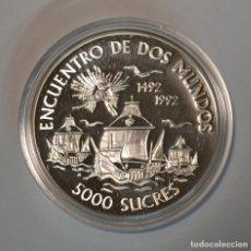 Monedas antiguas de América: ECUADOR - 5000 SUCRES 1991 - ENCUENTRO DE DOS MUNDOS - PLATA - LOT. 2304. Lote 194510341