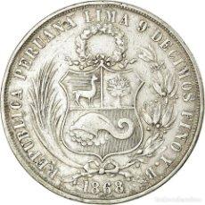 Monedas antiguas de América: MONEDA, PERÚ, SOUTH PERU, SOL, 1868, LIMA, BC+, PLATA, KM:196.3. Lote 194740741