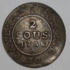 Monedas antiguas de América: CAYENNE/GUYANA FRANCESA. 2 SOUS 1788.. Lote 195190105