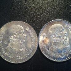 Monedas antiguas de América: MEXICO/MEJICO LOTE 2 MONEDAS CON ALEACIÓN DE PLATA 1 PESO AÑOS 1963,1966 BUENA CONSERVACION. Lote 195277783
