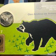 Monedas antiguas de América: PERU CARPETA CONMEMORATIVA 1 SOL 2017 OSO ANDINO. Lote 195344667