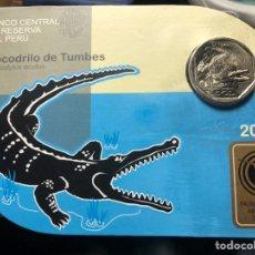 Monedas antiguas de América: PERU CARPETA CONMEMORATIVA 1 SOL 2017 COCODRILO DE TUMBES. Lote 195344735