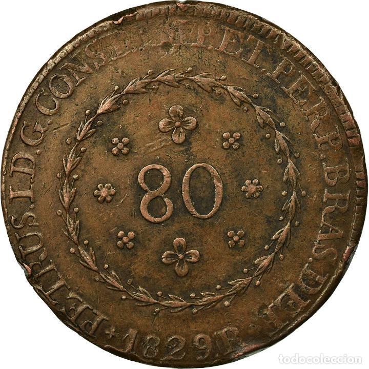 Monedas antiguas de América: Moneda, Brasil, Pedro I, 80 Reis, 1829, Bahia, BC+, Cobre, KM:366.2 - Foto 2 - 195353061