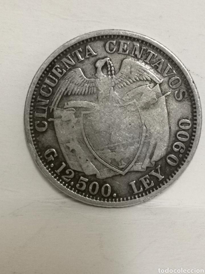 Monedas antiguas de América: Bonita moneda de plata 50 ctvs Colombia 1914 - Foto 2 - 195354088