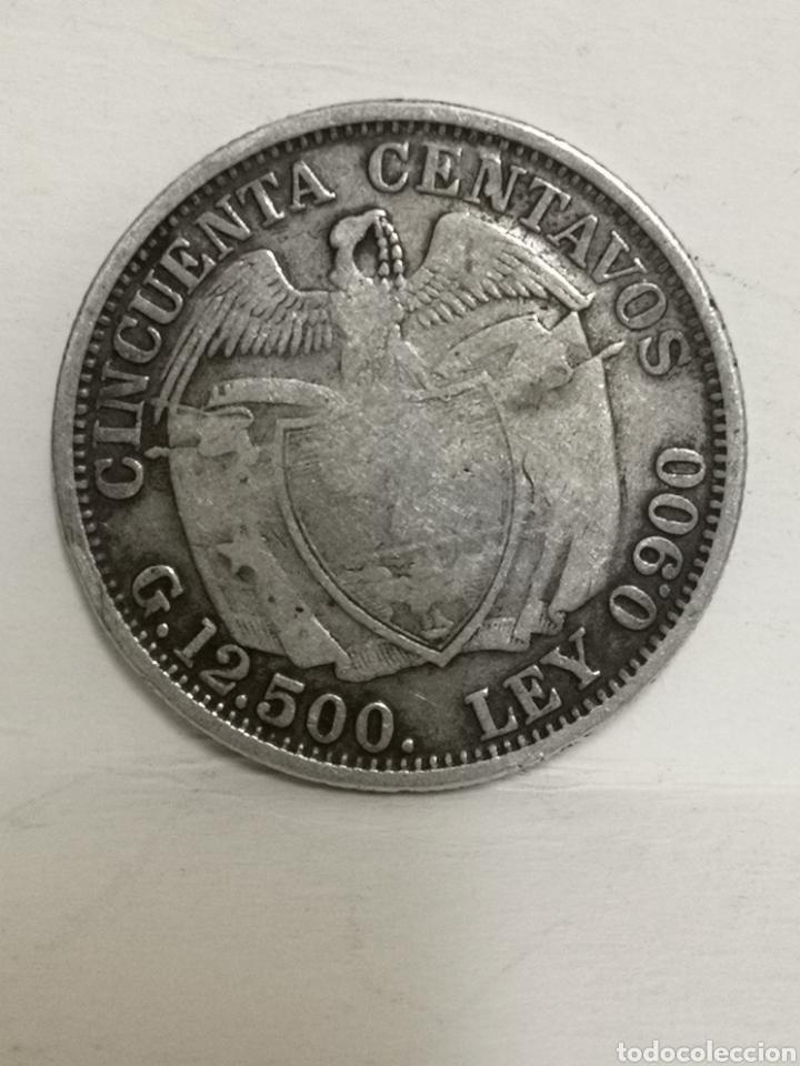Monedas antiguas de América: Bonita moneda de plata 50 ctvs Colombia 1914 - Foto 3 - 195354088