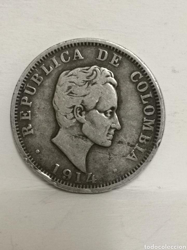Monedas antiguas de América: Bonita moneda de plata 50 ctvs Colombia 1914 - Foto 4 - 195354088