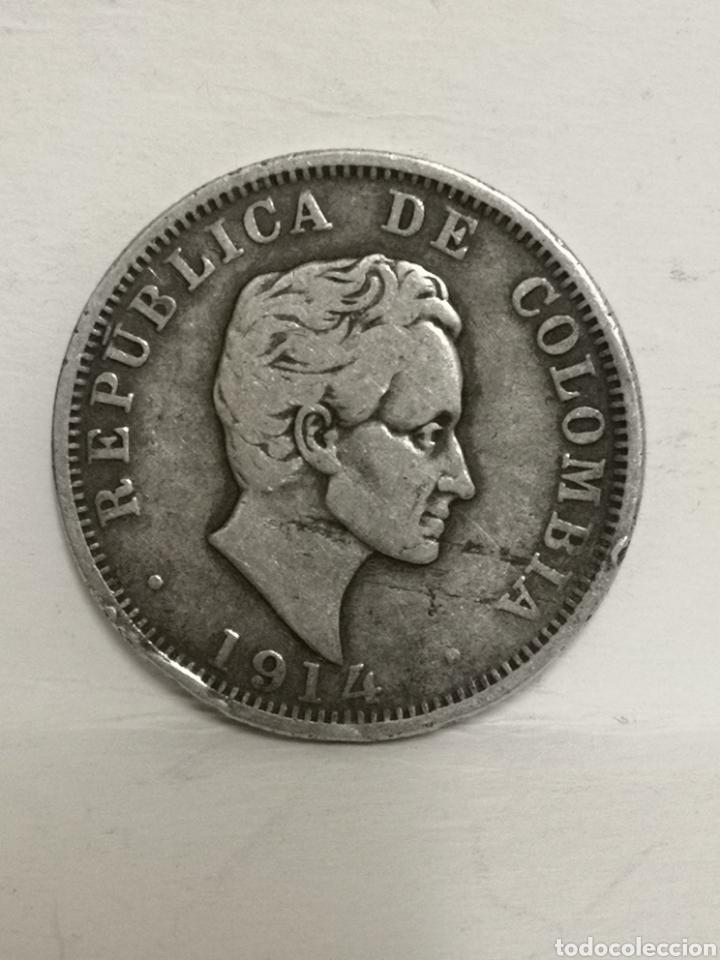 BONITA MONEDA DE PLATA 50 CTVS COLOMBIA 1914 (Numismática - Extranjeras - América)