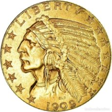 Monedas antiguas de América: MONEDA, ESTADOS UNIDOS, INDIAN HEAD, $5, HALF EAGLE, 1909, PHILADELPHIA, EBC. Lote 195347560