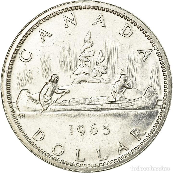 Monedas antiguas de América: Moneda, Canadá, Elizabeth II, Dollar, 1965, Royal Canadian Mint, Ottawa, MBC - Foto 2 - 195351088