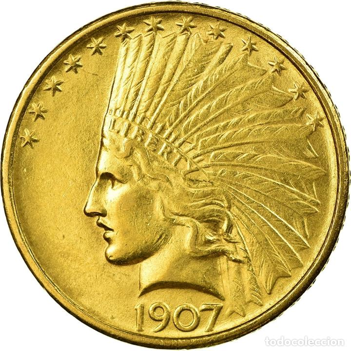 MONEDA, ESTADOS UNIDOS, INDIAN HEAD, $10, EAGLE, 1907, U.S. MINT, PHILADELPHIA (Numismática - Extranjeras - América)