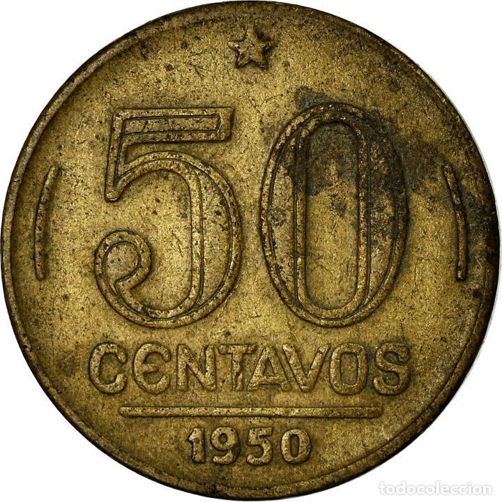 Monedas antiguas de América: Moneda, Brasil, 50 Centavos, 1950, MBC, Aluminio - bronce, KM:563 - Foto 2 - 195362680