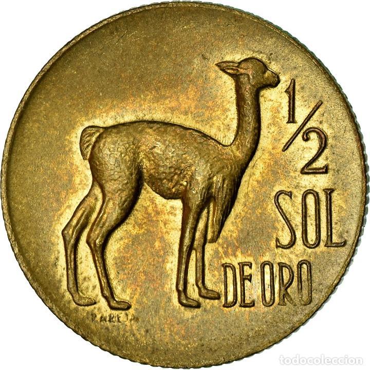 Monedas antiguas de América: Moneda, Perú, 1/2 Sol, 1968, MBC, Latón, KM:247 - Foto 2 - 195382651