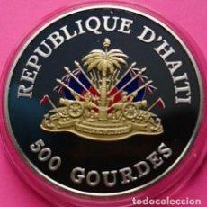 Monedas antiguas de América: HAITÍ 500 GOURDES 1999 PALOMA DEL MILENIO DE PLATA Y ALGO CHAPADO EN ORO KM 165. Lote 195427506