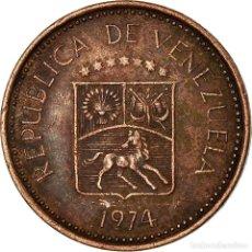 Monedas antiguas de América: MONEDA, VENEZUELA, 5 CENTIMOS, 1974, BC+, COBRE RECUBIERTO DE ACERO, KM:49. Lote 195442048