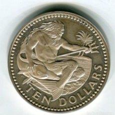 Monedas antiguas de América: BARBADOS 10 DOLARES AÑO 1974 PLATA - SE ENVIA LA MISMA MONEDA DE LAS IMAGENES -. Lote 195460990