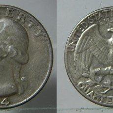 Monedas antiguas de América: MONEDA DE ESTADOS UNIDOS CUARTO QUARTER DE PLATA 1964. Lote 195526076