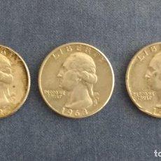 Monedas antiguas de América: TRIO DE MONEDAS USA: 25 CENTAVOS DE PLATA DE 1962, 1963 D Y 1964. Lote 195547250