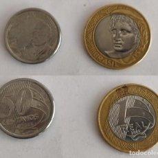 Monedas antiguas de América: 2 MONEDAS DE BRASIL, 1 REAL Y 50 CENTAVOS. Lote 196103648