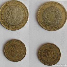 Monedas antiguas de América: 2 MONEDAS DE MEXICO, 10 PESOS Y 50 CENTAVOS DE 2007. Lote 196105508