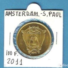 Monedas antiguas de América: ISLA DE AMSTERDAN 100 FRANCS 2011. LATON. Lote 196880220