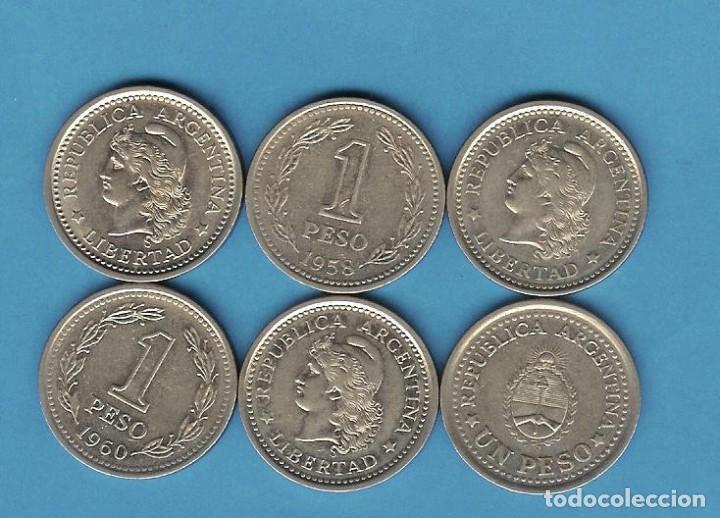 ARGENTINA 6X1 PESO DIFERENTES. SISTEMA MONETARIO ANTERIOR A 1970 (Numismática - Extranjeras - América)