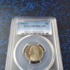 Monedas antiguas de América: PCGS MONEDA EEUU FIVE CENTS DE 1994 CECA S - CERTIFICADA EN PR70DCAM MÁXIMO GRADO. Lote 199216683