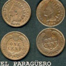 Monedas antiguas de América: ESTADOS UNIDOS 2 MONEDAS DE 1 CENTIMO DE 1892 Y 1893 ( JEFE INDIO ) ORIGINALES Y MUY ESCASAS - Nº34. Lote 200185231