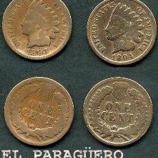 Monedas antiguas de América: ESTADOS UNIDOS 2 MONEDAS DE 1 CENTIMO DE 1893 Y 1894 ( JEFE INDIO ) ORIGINALES Y MUY ESCASAS - Nº35. Lote 200185282