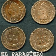 Monedas antiguas de América: ESTADOS UNIDOS 2 MONEDAS DE 1 CENTIMO DE 1889 Y 1899 ( JEFE INDIO ) ORIGINALES Y MUY ESCASAS - Nº36. Lote 200185316