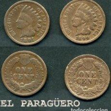 Monedas antiguas de América: ESTADOS UNIDOS 2 MONEDAS DE 1 CENTIMO DE 1890 Y 1891 ( JEFE INDIO ) ORIGINALES Y MUY ESCASAS - Nº37. Lote 200185342