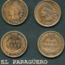 Monedas antiguas de América: ESTADOS UNIDOS 2 MONEDAS DE 1 CENTIMO DE 1901 Y 1902 ( JEFE INDIO ) ORIGINALES Y MUY ESCASAS - Nº38. Lote 200185370