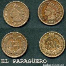 Monedas antiguas de América: ESTADOS UNIDOS 2 MONEDAS DE 1 CENTIMO DE 1903 Y 1904 ( JEFE INDIO ) ORIGINALES Y MUY ESCASAS - Nº39. Lote 200185380