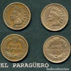 Monedas antiguas de América: ESTADOS UNIDOS 2 MONEDAS DE 1 CENTIMO DE 1905 Y 1906 ( JEFE INDIO ) ORIGINALES Y MUY ESCASAS - Nº40. Lote 200185396