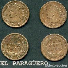 Monedas antiguas de América: ESTADOS UNIDOS 2 MONEDAS DE 1 CENTIMO DE 1895 Y 1907 ( JEFE INDIO ) ORIGINALES Y MUY ESCASAS - Nº41. Lote 200185426