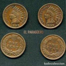 Monedas antiguas de América: ESTADOS UNIDOS 2 MONEDAS DE 1 CENTIMO DE 1898 Y 1899 ( JEFE INDIO ) ORIGINALES Y MUY ESCASAS - Nº42. Lote 200297725