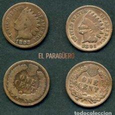 Monedas antiguas de América: ESTADOS UNIDOS 2 MONEDAS DE 1 CENTIMO DE 1891 Y 1893 ( JEFE INDIO ) ORIGINALES Y MUY ESCASAS - Nº43. Lote 200297843