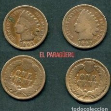 Monedas antiguas de América: ESTADOS UNIDOS 2 MONEDAS DE 1 CENTIMO DE 1892 Y 1893 ( JEFE INDIO ) ORIGINALES Y MUY ESCASAS - Nº45. Lote 200298131