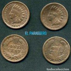 Monedas antiguas de América: ESTADOS UNIDOS 2 MONEDAS DE 1 CENTIMO DE 1887 Y 1897 ( JEFE INDIO ) ORIGINALES Y MUY ESCASAS - Nº46. Lote 200298227