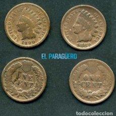 Monedas antiguas de América: ESTADOS UNIDOS 2 MONEDAS DE 1 CENTIMO DE 1889 Y 1890 ( JEFE INDIO ) ORIGINALES Y MUY ESCASAS - Nº47. Lote 200298365