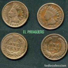 Monedas antiguas de América: ESTADOS UNIDOS 2 MONEDAS DE 1 CENTIMO DE 1895 Y 1901 ( JEFE INDIO ) ORIGINALES Y MUY ESCASAS - Nº48. Lote 200298546