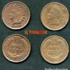 Monedas antiguas de América: ESTADOS UNIDOS 2 MONEDAS DE 1 CENTIMO DE 1902 Y 1903 ( JEFE INDIO ) ORIGINALES Y MUY ESCASAS - Nº49. Lote 200298737