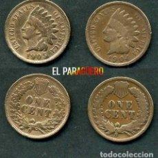 Monedas antiguas de América: ESTADOS UNIDOS 2 MONEDAS DE 1 CENTIMO DE 1904 Y 1905 ( JEFE INDIO ) ORIGINALES Y MUY ESCASAS - Nº50. Lote 200298855