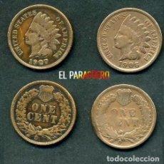 Monedas antiguas de América: ESTADOS UNIDOS 2 MONEDAS DE 1 CENTIMO DE 1906 Y 1907 ( JEFE INDIO ) ORIGINALES Y MUY ESCASAS - Nº51. Lote 200298965
