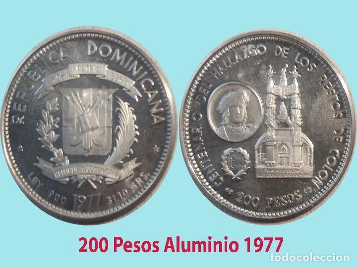 REP. DOMINICANA.- 1977- ENSAYO O PRUEBA EN ALUMINIO DE 200 PESOS Y 4,5 GR. DE PESO. CALIDAD PROOF (Numismática - Extranjeras - América)