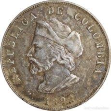 Monedas antiguas de América: COLOMBIA. 50 CENTAVOS DE 1892. 400 ANIVERSARIO DEL DESCUBRIMIENTO DE AMÉRICA. (044).. Lote 201134118