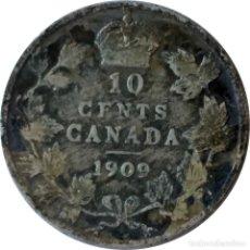Monedas antiguas de América: CANADÁ.10 CENTAVOS DE 1909 (REY EDUARDO VII). (064).. Lote 202689366